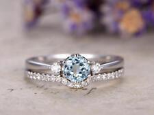 1Ct Round Cut Natural Aqua Blue Topaz Syn Diamond Ring Set White Gold Fns Silver