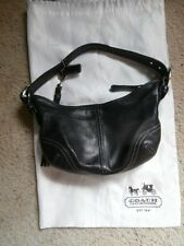AUTHENTIC COACH TOTE & FOBS BLACK LEATHER HOBO BAG SMALL W/DUST BAG