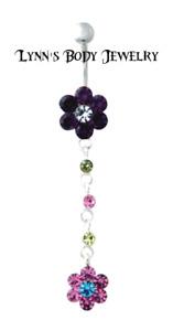 Purple Pink Flower * Crystal Gems * Flowers Surgical Steel Dangle Belly Ring