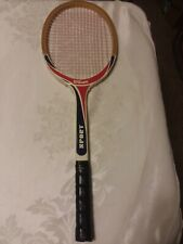 Vintage Wilson Sport Tennis Racket Wood, 4 3/8 Grip Belgium Red White Blue