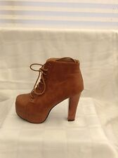 Boots Size 4 Dark Tan Lace Up Square Toe