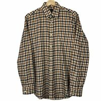 "Aquascutum Long Sleeved Casual House Check Button Up Shirt Medium M PTP 21.25"""
