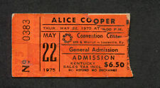 Alice Cooper 1975 Concert Ticket Stub Louisville KY Welcome To My Nightmare