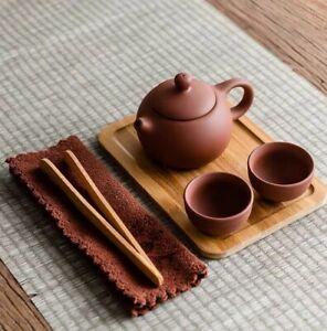 Gongfu Tea Pot Set 7 Pcs Purple Clay  1 Pot+ 2Cups +tong  + Tea Tray +Towel +Bag
