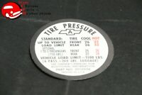 67 Chevelle SS Tire Pressure Decal GM # 3910996