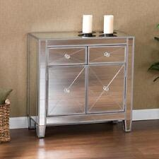 Console Table Mirrored Finish Storage Accent Cabinet Decor Doors Drawers Tables