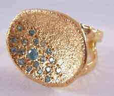 Melinda Maria Pod Pave Ring Gold w/Blue CZ Adjustable