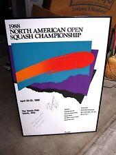 1988 North American Squash Championship autograph poster John G. Nimick OHIO
