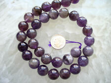 "Quality Natural Genuine Amethyst Round Beads 16"" Strand 12mm 32 Beads"