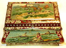 Big Size Sports Lady Tennis Soccer Rowing Skiing Horse Hunting Biscuit Tin 1910s