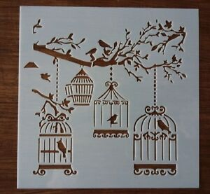 BIRD CAGES AND TREE STENCIL 130mm x 130mm