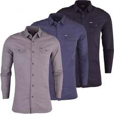 Mens Firetrap Pittson Long Sleeved Collared Shirt Plain Smart Casual Cotton Top
