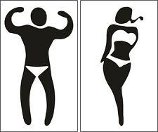 2 Fun TOILET MENS WOMENS WC SIGN funny humorous bathroom door sticker black on w