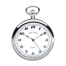 Quartz Chrome Plated Polished Back Pocket Watch by Mount Royal- Model B2