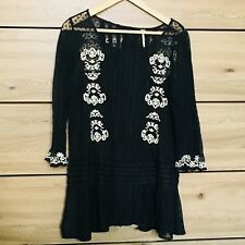 FREE PEOPLE black Cream Sheer Tunic Dress Size Small S A19