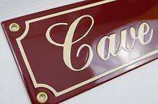Plaque emaillée CAVE À VIN 9x35 cm - 10 ans de garantie - fait à la main en tôle