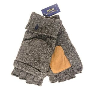 POLO RALPH LAUREN Mens Flip Cuff Wool Blend Gloves One Size Gray (MSRP $55)