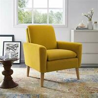 Arm Chair Accent Single Sofa Linen Fabric Upholstered Living Room Citrine Yellow