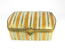 Vintage Limoges Le Tallec trinket box orange 1962 pin jewellery cigarette