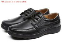 classic Mens round toe lace up real leather business Formal casual Dress Shoes