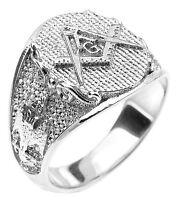 14k Solid White Gold Masonic Men's Ring Scottish Rite
