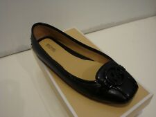 NIB Women Michael Kors Fulton Moc Saffiano Leather Flat Shoes Black size 6.5