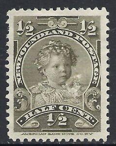 NEWFOUNDLAND SCOTT 78 MNG VF+ - 1898 1/2c OLIVE GREEN ISSUE   CAT $4.50