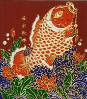 Lucky Lonely Fish Figurine Thai Art Silk Painting Posters Print Wall Home Decor
