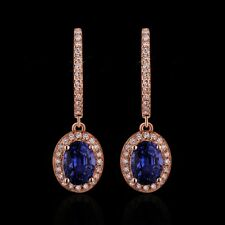 18Carat Rose Gold Natural Sapphire & Diamond Cluster Drop Earrings 2cms 1.50cts