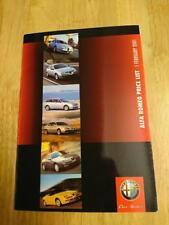 2001 Alfa Romeo Price List Brochure Inc. 147, 156, 166, GTV, Spider