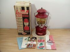 Vtg Orig Coleman 200A Sgl Mantle Burgundy Lantern 5/62 w/ Box & Amber Globe EUC