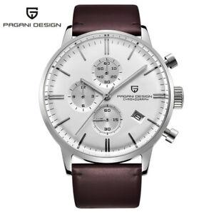 PAGANI DESIGN Waterproof  Date Leather Band Men Quartz Wrist Watch Chronograph