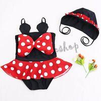 Girls Kids Minnie Mouse Dots Tankini Swimwear Bikini Swimsuit Swimming Costume