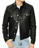 Mens Slim fit Black Trucker Genuine Sheepskin Leather Jacket