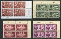 SWITZERLAND PAX HIGH VALUES CORNER BLOCKS  SCOTT#302/05 MINT NEVER HINGED