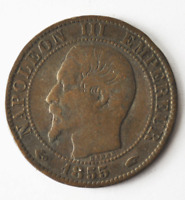 1855 A France 5 Five Centimes KM# 777.1 Bronze Coin