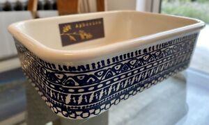Aphorism Navy Aztec Patterned Baking Dish, 19cm x 14cm