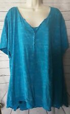 Catherine's Womans Teal Blue Knit Top Size 3X Lace Trim Bottom  PT/A-70