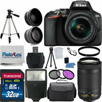 Nikon D3500 Digital SLR Camera + 4 Lens: 18-55mm VR Lens 70-300mm + 32GB Bundle