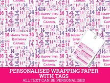 Personalised Happy 14th Birthday Wrapping paper. Pink Gift Wrap with a number 14