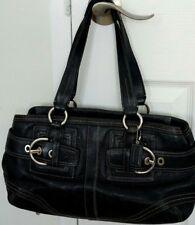New listing Coach Hamptons Handbag Black Leather Shoulder Purse Vintage