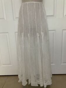Vintage Antique Victorian White Cotton Petticoat Slip Skirt Lace Dart Tucks XS