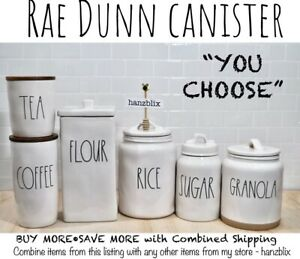 """Rae Dunn Canister COFFEE SUGAR TEA RICE COOKIES OATS NUTS """"YOU CHOOSE""""NEW'20-'21"""