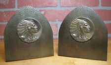Antique Native American Indian Chief Hammered Brass Bookends Arts & Crafts