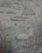 Vintage Large BLUE SWAN BIRD Themed Fabric Remnant (57cm x 61cm)