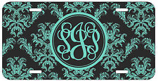 Personalized Monogrammed Damask Green Black License Plate Custom Car Tag L494