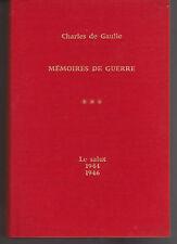 CHARLES DE GAULLE MEMOIRES DE GUERRE tome 3 1944-1946 LIVRE histoire