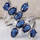 Women 925 Silver Blue Sapphire Gemstone Size 6-10 Wedding Bridal Engagement