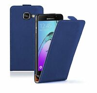 SLIM BLUE Leather Flip Case Cover Pouch For Mobile Phone Samsung Galaxy A3 2016