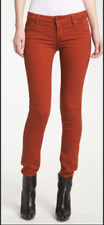VINCE 5 PKT SKINNY in RUST orange tencel twill very stretchy jeans 26   ******